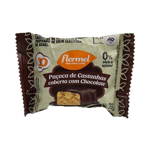 Paçoca de Castanhas Coberta de Chocolate - 22g - Flormel