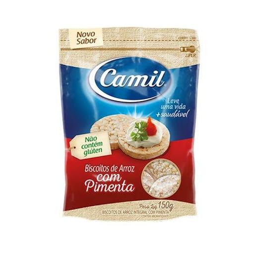 Mini Biscoito de Arroz Integral Com Pimenta - 150g- CAMIL