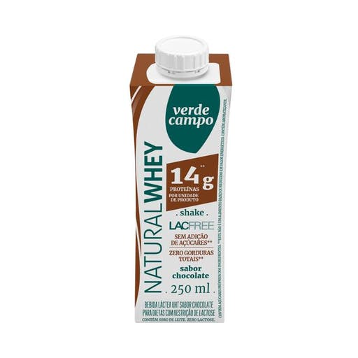 Shake Natural Whey 14g de Proteina  Sabor Chocolate - Verde Campo
