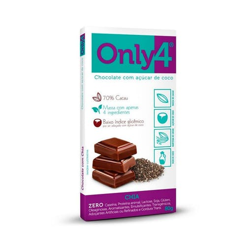 Chocolate 70% Cacau - Chocolate e Chia  80g - Only4
