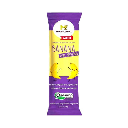 Barrinha de banana e aveia proteínas org mini - 25g - Monama