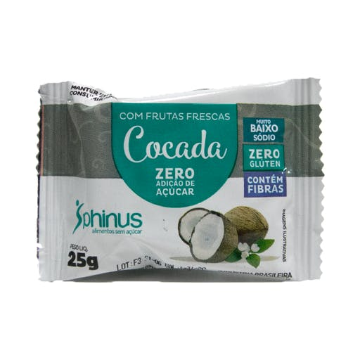 Cocada Zero Açúcar 25g - Phinus